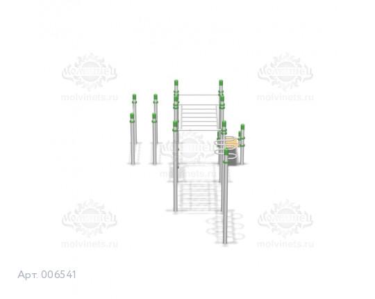 006541 - Воркаут-комплекс с 2-мя рукоходами, 2-мя турниками, шведской стенкой, двойными брусьями и наклонной скамьей для пресса