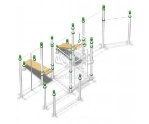 006542 - Воркаут-комплекс с 4-мя турниками, шведской стенкой, брусьями, канатом, кольцами и 2-мя наклонными скамьями для пресса