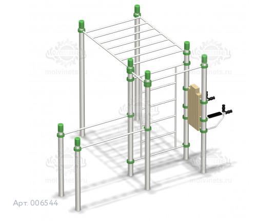 006544 - Воркаут-комплекс с 2-мя турниками, шведской стенкой, рукоходом, брусьями и вертикальным прессом
