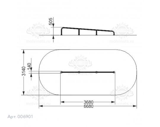 """006901 - Фигура для скейт-парка """"Рейл наклонный"""" (Rail)"""
