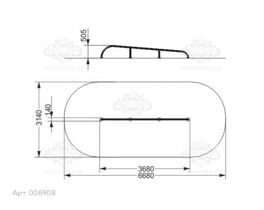 "006908 - Фигура для скейт-парка ""Рейл наклонный скругленный"" (Rail)"
