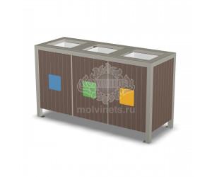 001105 - Урна деревянная для раздельного сбора мусора со вставками