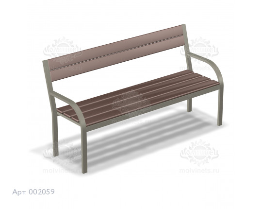 002059 - Скамья металлическая со спинкой