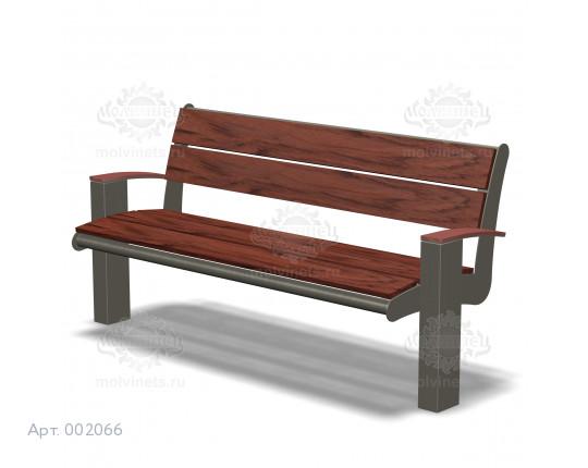 002066 - Скамья металлическая со спинкой