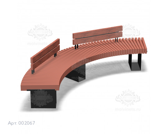 002067 - Скамья металлическая со спинкой