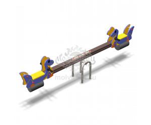 """004106 - Качели балансирные деревянные """"Аммозаврики"""""""