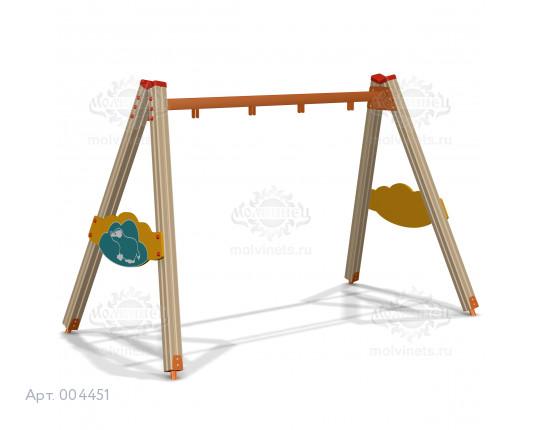 """004451 - Каркас качелей на деревянных стойках """"Барсук"""" (под два подвеса)"""