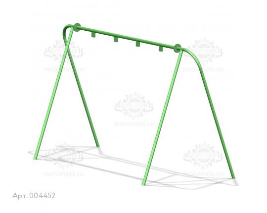 004452 - Каркас качелей на металлических стойках  (под два подвеса)