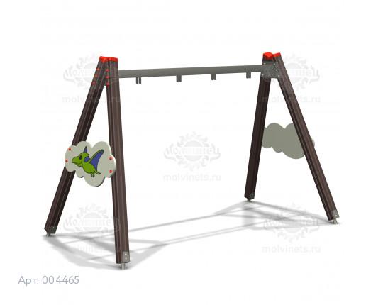 """004465 - Каркас качелей на деревянных стойках """"Птерозаврик"""" (под два подвеса)"""