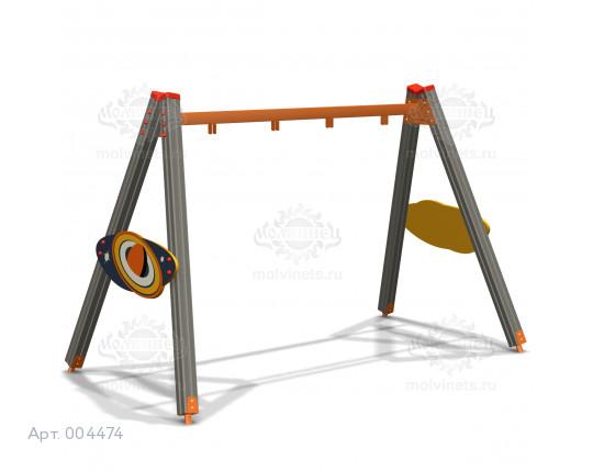 """004474 - Каркас качелей на деревянных стойках """"Байконур"""" (под два подвеса)"""